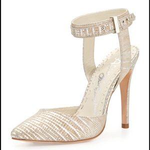 Alice + Olivia Dayla lizard embossed heels euc